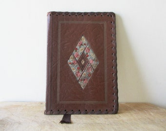 Vintage exercise book cover 1950s, Leather from Cordoba, Mid century Carnet couverture cahier Cuir de Cordoue
