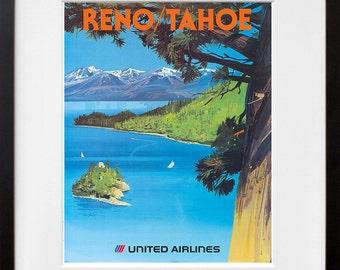 Lake Tahoe Wall Art Print Reno Vintage Travel Poster (TR73)