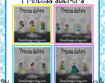 24 Princess Birthday Party stickers baby shower decorations Party stickers Party cup stickers decals favors Fairytale decals DIY or Precut