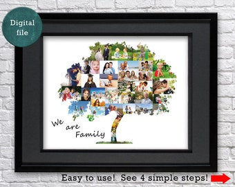 family tree photo collage personalized family tree wall art family tree gift for father family tree art family tree for grandparents collage