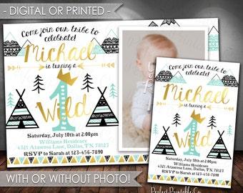 Wild One Birthday Invitation, Tribal Birthday Invitation, Teepee Birthday Invitation, Black Teal Mint Gold, Boy, Digital File, Printed #615