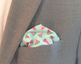 Watermelon Pocket Square watermelon handkerchief Mens Pocket Square men's handkerchief Wedding groom groomsmen gift mint green coral pink