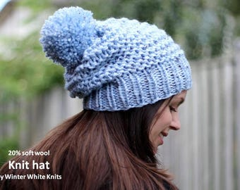 CHUNKY KNIT HAT, knit hat, wool knit hat, winter knit hat, Knit pom pom hat, Knit beanie hat, soft and cozy, hand-knit hat, slouchy knit hat