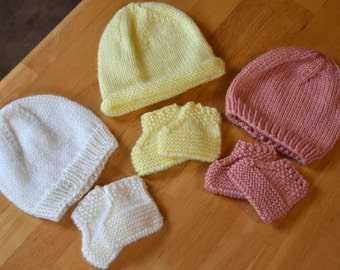 Newborn Baby Hat and Booties Sets