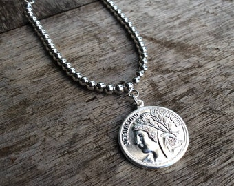 Fashion Jewellery, Fashion necklace, Coin short necklace, French coin necklace, Womens jewellery, Coin pendant necklace, Every day necklace.