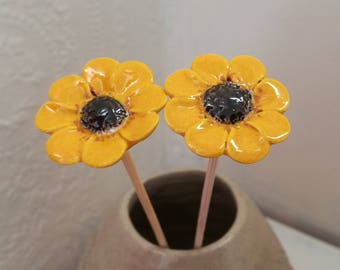 Yellow flowers, Yellow Daisies, Pottery flowers, Ceramic flowers, Yellow decor, Yellow ornaments, Ceramics and Pottery