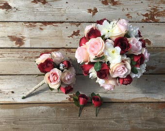 Burgundy and Blush rose bouquets with matching boutonnières- 4 pcs