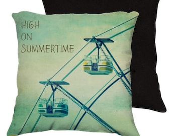 Throw Pillow Case, High on Summertime - Photo by RDelean - Ferris Wheel, Summertime, Carnival