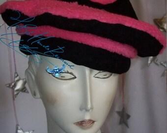 winterhat, beret, pink black hat, night christmas, winter festival party headgear