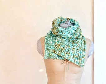 Hand Knit Scarf Hand Dyed Spring to Autumn Greens Original Design Knitwear Meandering Cables