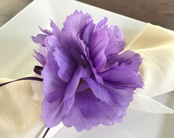 Napkin Ring - Lavender Purple Daisy cluster- Wedding Decoration - Wedding Showers - Easter