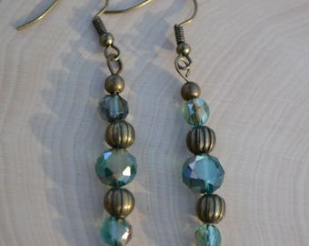 beaded earrings with bronze and glass beads