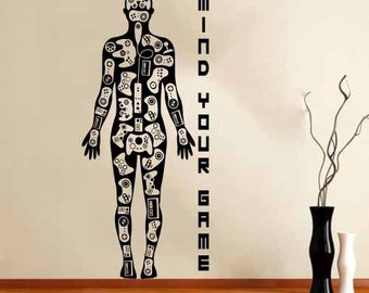 Wall Stickers Decal Video Games Gamer Body Wall Stickers Decal Xbox Playstation Wii! Room boy -