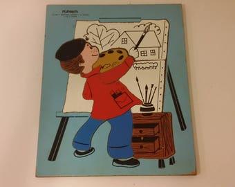 Playskool Budding Artist Wood Tray Puzzle, 1970's