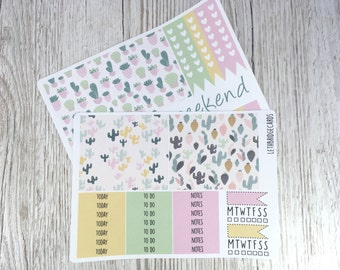 Succulent and Cacti Happy Planner Weekly Kit; Vinyl Planner Stickers; Mambi; Decorative Stickers