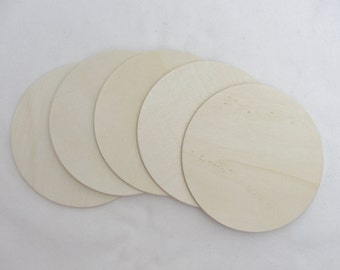 "5 Wooden Circle discs, wood disk 5"" x 1/8"" thick unfinished DIY"