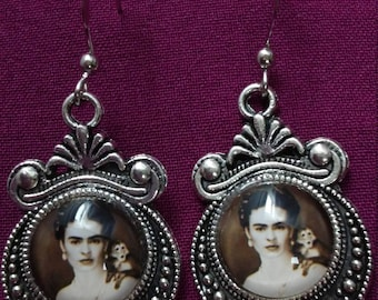 Frida Kahlo with Monkey Earrings