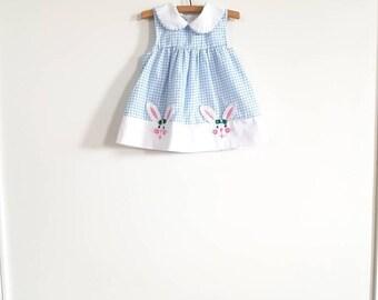 Vintage Blue Gingham Baby Dress