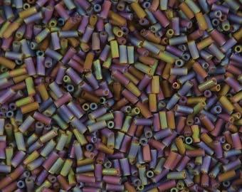 Size 2 bugle bead, 5 mm long, matte, translucent, brown iris, root beer iris, glass bugle beads- 8 grams-Bin# 84