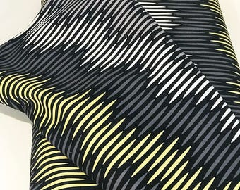 Black Gray White Citron  Woven Cotton Fabric by the Yard, Asha by Michael Miller Dress Fabric, Quilting, Cotton, Kitchen Textile, CX6591