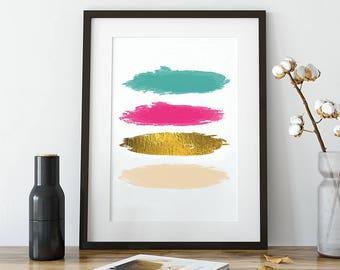 Printable Abstract Art, 8x10 Print, Printable Bedroom Art, Watercolor Printable, Abstract Art, Pink Wall Art, Modern Pink Watercolor Art
