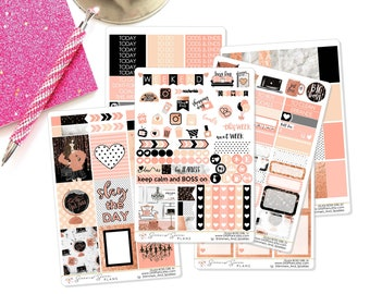GLAM BOSS Weekly Planner Kit, Planner Stickers - Use in Erin Condren Vertical and Horizontal / Happy Planner