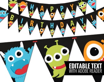 Little Monster Birthday Banner - Funny Little Monster Birthday Decorations - Kids Party - 1st Birthday - Printable PDF - Instant Download