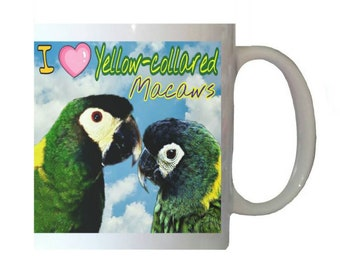 I Love Yellow-collared Macaws Macaw Parrot Blue Sky Clouds White 11oz Ceramic Coffee Mug