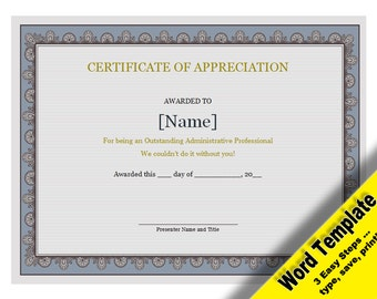 Certificate of Appreciation, Editable Word Template, Printable, Instant Download, YOU EDIT Word Template, Diy Certificate Template, Awards