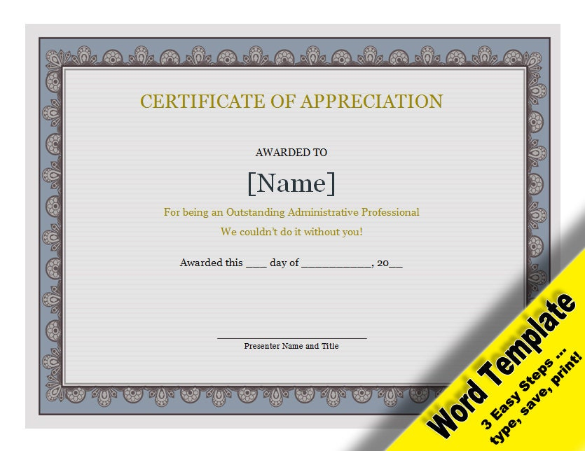 Certificate of Appreciation Editable Word Template