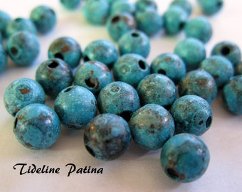 PATINA COPPER ROUND 8mm Beads,  10 Pieces with choice of Patina