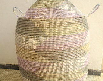 Brand New Chevron Laundry Basket, Cool Colours, African Basket in grey, white, beige and lilac made to order