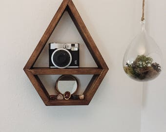 Wooden Diamond Shelf