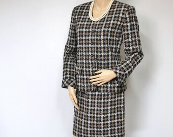 Vintage Suit 1980's Women's Suit Plaid Vintage Business Office Skirt and Jacket Brown and Black Plaid Size 8