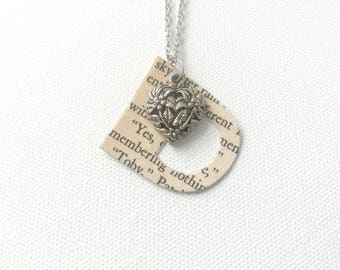 Monogram Necklace, Upcycled Book Page Pendant, Personalized Gift, Book Club Gift, Gift for Readers, Bookworm Gift, Friendship Necklace