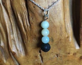 Lava Stone Essential Oil Diffuser necklace // aromatherapy // pendant // lava stone // chain
