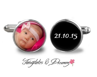 Baby Photo Cufflinks - Mens Cuff Links- New Daddy - Memorable Keepsake - Photo Cufflinks -  Dad Gift - Fathers Day- Birthday- Gifts for him