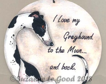 Greyhound Dog on Moon painting plaque sign hand painted original by Suzanne Le Good