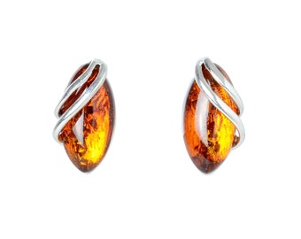 """Sterling Silver and Baltic Honey Amber Earrings """"Darcie"""""""