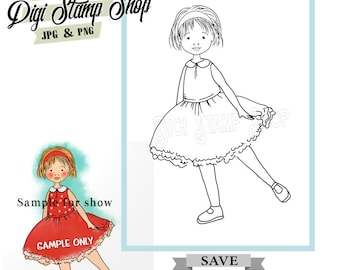 Party Dress Stamp, Digital Stamp, Sunday Dress Stamp, Digi Stamp, Girl Stamp, Color In Page, Card Design, Lineart, dress stamp,