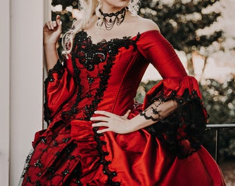 In Stock Sale! Red/Black Marie Antoinette Upscale Victorian Gothic Wedding Costume Gown with Hat Medium