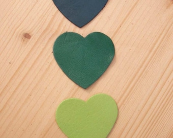 set of 3 hearts #6 leather
