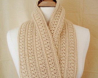Crochet Scarf Neckwarm Japanese Inspired Design Beige Colored Scarf