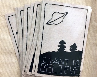 I want to believe sticker, X-files inspired, based on hand sewn patch, laptop sticker, aliens,