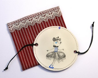 Thaumatrope paper optical toy illusion - original illustration - Rope-dancer Mouse