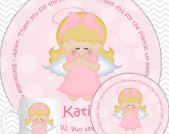 Kneeling Angel Pink Plate, Bowl Mug  Set - Personalized Plate Set - Customized Plate, Bowl, Mug - Melamine Plate, Bowl & Set for Kids