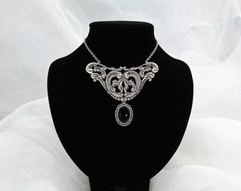 Elegant Gothic Silver Plated Filigree Black Glass Stone Necklace Or Set With Earrings