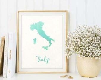Italy map printable, Watercolor print, Italy print, Italy gift, Italy wall art, Map of Italy, Letter print, Map poster, Digital print, Sign