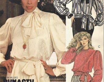 1980s Diahann Carroll Womens Pussy Bow Blouse With Tie and Tie Belt McCalls Sewing Pattern 9247 Size 18 Bust 40 FF Vintage Sewing Patterns
