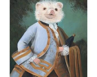 Mr. Hedgehog, Hedgehog Prints, Hedgehog Portrait, Hedgehog in Clothes